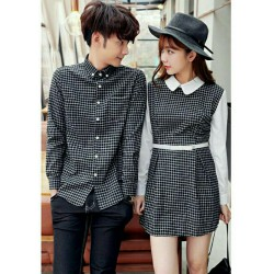 Dress Kotak Berry Black - Dress / Busana / Fashion / Couple / Pasangan / Kasual / Elegan
