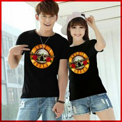 Guns n Roses Black - Baju / Kaos / Oblong / Couple / Pasangan / Kombinasi / Katun Combed