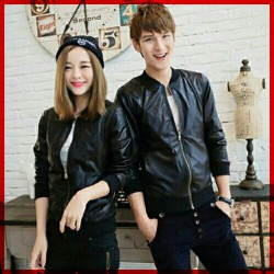 Jaket Hangouts Black - Mantel / Busana / Fashion / Couple / Pasangan / Babyterry / Kasual