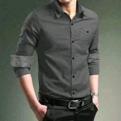 Men Dave Grey - Kemeja / Busana / Atasan / Fashion / Pria / Slim Fit / Formal / Kasual / Kantor