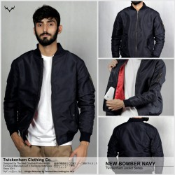 Jaket Bomber Dark Navy - Mantel / Sweater / Taslan Mayer / Jokowi / Waterproof / Tahan Air / Tebal