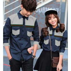 Gucci Pocket Navy - Baju / Kemeja / Fashion / Couple / Pasangan / Kasual / Stretch