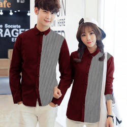 Simple Line Maroon - Baju / Kemeja / Fashion / Couple / Pasangan / Pesta / Kasual