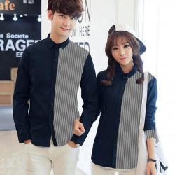 Simple Line Navy - Baju / Kemeja / Fashion / Couple / Pasangan / Pesta / Kasual