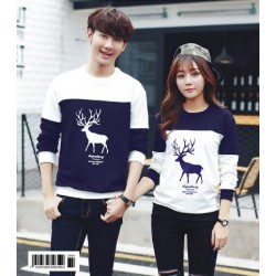 Sweater Moose Navy White - Mantel / Busana / Fashion / Couple / Pasangan / Babyterry / Kasual