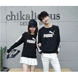 Sweater Puma Stripe Black - Mantel / Busana / Fashion / Couple / Pasangan / Babyterry / Sporty