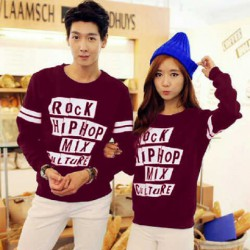 Sweater Rock Hip Hop Maroon - Mantel / Busana / Fashion / Couple / Pasangan / Babyterry / Kasual