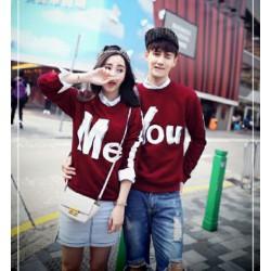 Sweater You Me Stripe Maroon - Mantel / Busana / Fashion / Couple / Pasangan / Babyterry / Sporty