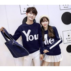 Sweater You Me Stripe Navy - Mantel / Busana / Fashion / Couple / Pasangan / Babyterry / Sporty