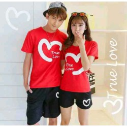 CS True Love Red - Baju / Kaos / Oblong / Stelan / Couple / Pasangan / Kasual