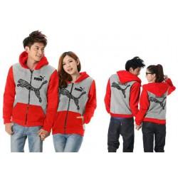 Jaket Puma Batik Grey Red - Mantel / Busana / Fashion / Couple / Pasangan / Babyterry / Sporty