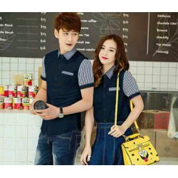 Kitkat Navy - Baju / Busana / Kemeja / Fashion / Couple / Pasangan / Kasual