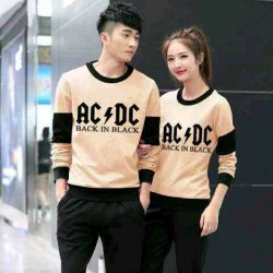Sweater ACDC Mocha Black - Mantel / Busana / Fashion / Couple / Pasangan / Babyterry / Kasual