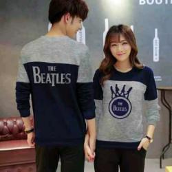 Sweater Beatles Cross Navy Misty - Mantel / Busana / Fashion / Couple / Pasangan / Babyterry / Kasual