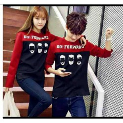 Sweater Go Forward Red Black - Mantel / Busana / Fashion / Couple / Pasangan / Babyterry / Sporty