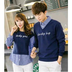 Sweater Lucky Boy Kombinasi Navy - Mantel / Busana / Fashion / Couple / Pasangan / Babyterry / Kasual