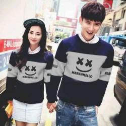 Sweater Marshmello Navy Misty - Mantel / Busana / Fashion / Couple / Pasangan / Babyterry / Kasual