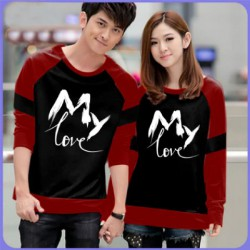 Sweater My Love Black Maroon - Mantel / Busana / Fashion / Couple / Pasangan / Babyterry / Kasual