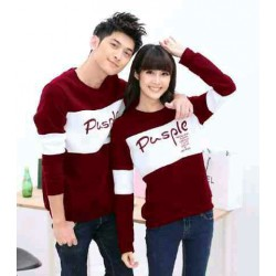 Sweater Pusple Neo Maroon White - Mantel / Busana / Fashion / Couple / Pasangan / Babyterry / Kasual