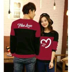 Sweater True Love Black Maroon - Mantel / Busana / Fashion / Couple / Pasangan / Babyterry / Sporty