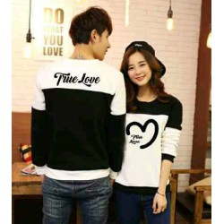 Sweater True Love Black White - Mantel / Busana / Fashion / Couple / Pasangan / Babyterry / Sporty