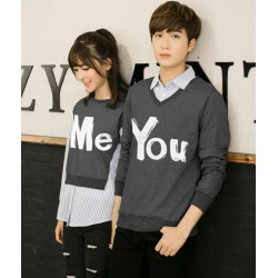 Sweater You Me Kombinasi Grey - Mantel / Busana / Fashion / Couple / Pasangan / Babyterry / Kasual