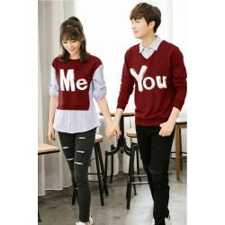 Sweater You Me Kombinasi Maroon - Mantel / Busana / Fashion / Couple / Pasangan / Babyterry / Kasual