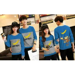 Sweater Banana Turquise Grey - Mantel / Busana / Fashion / Couple / Pasangan / Babyterry / Kasual