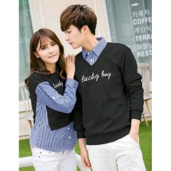 Sweater Lucky Boy Kombinasi Black - Mantel / Busana / Fashion / Couple / Pasangan / Babyterry / Kasual