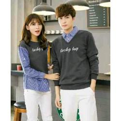 Sweater Lucky Boy Kombinasi Dark Grey - Mantel / Busana / Fashion / Couple / Pasangan / Babyterry / Kasual