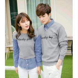 Sweater Lucky Boy Kombinasi Light Grey - Mantel / Busana / Fashion / Couple / Pasangan / Babyterry / Kasual