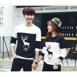 Sweater Moose Black White - Mantel / Busana / Fashion / Couple / Pasangan / Babyterry / Kasual