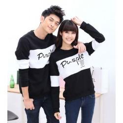 Sweater Pusple Neo Black White - Mantel / Busana / Fashion / Couple / Pasangan / Babyterry / Kasual