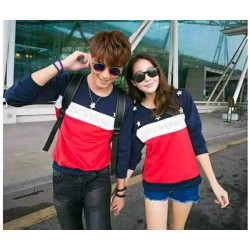 Sweater Star Converse Navy Red - Mantel / Busana / Fashion / Couple / Pasangan / Babyterry / Kasual