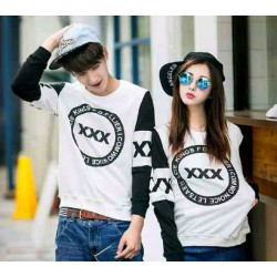 Sweater Triple X White Black - Mantel / Busana / Fashion / Couple / Pasangan / Babyterry / Kasual