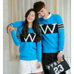 Sweater Wonder Neo Turquise Black - Mantel / Busana / Fashion / Couple / Pasangan / Babyterry / Kasual