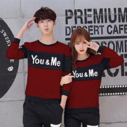 Sweater You Me Neo Maroon Black - Mantel / Busana / Fashion / Couple / Pasangan / Babyterry / Kasual