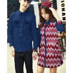 Rifani Navy - Baju / Kemeja / Fashion / Batik / Couple / Pasangan / Grosir / Pesta / Prewedding / Kasual