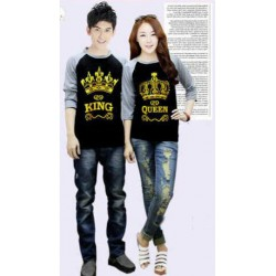 Kimono 3/4 King Queen Crown - Baju Couple / Kaos Pasangan / Supplier / Grosir / Prewed