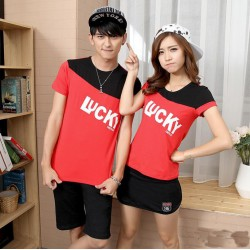 Lucky White - Supplier Couple / Kaos / Couple / Pasangan / Lengan Pendek Couple
