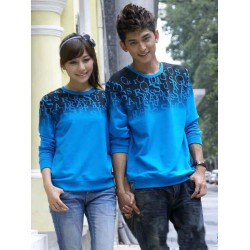 Sweater Abjad Biru - Sweater Couple / Fashion / Supplier / Grosir