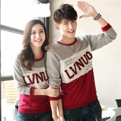 Sweater LVNUO New Abu Merah - Sweater Couple / Fashion / Supplier / Grosir