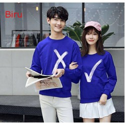 Sweater Wrong Right Biru - Sweater Couple / Supplier Couple / Pasangan / Fashion Couple
