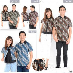 Batik Kerucut Kombinasi - Kemeja Couple / Batik Couple / Pasangan / Supplier / Couple