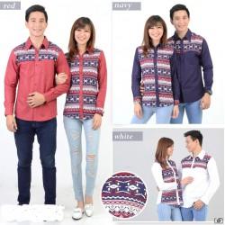 Rami Motif Putih - Kemeja Couple / Batik Couple / Baju Pasangan / Grosir / Couple